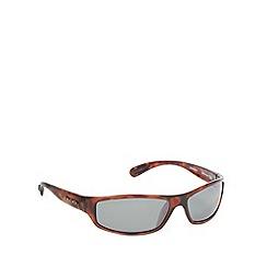 Bloc - Light brown tortoiseshell plastic frame wrap sunglasses