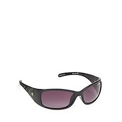 Bloc - Black plastic frame diamante detail wrap sunglasses