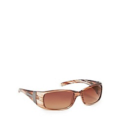 Bloc - Light brown striped plastic frame wrap sunglasses
