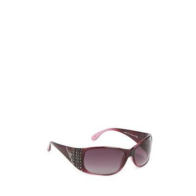 Bloc Purple plastic frame diamante detail wrap sunglasses - . -