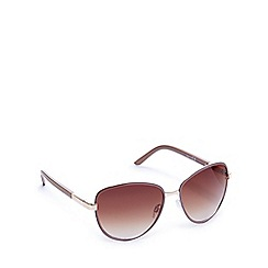 Red Herring - Light brown oversized square skinny framed sunglasses