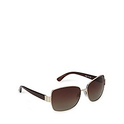 Beach Collection - Brown large square metal framed sunglasses