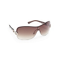 Beach Collection - Brown metal detail shield sunglasses