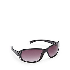 Beach Collection - Black diamante D-frame sunglasses
