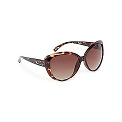 Beach Collection - Brown tortoiseshell print cat eye sunglasses