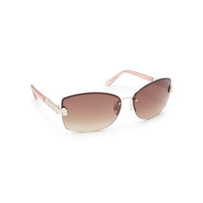 Pink Rimless Glasses : Beach Collection Light pink rimless sunglasses Debenhams