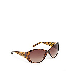 Mantaray - Brown tortoiseshell hibiscus print oval sunglasses