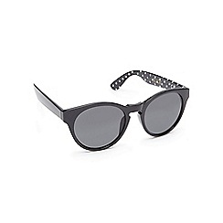 Floozie by Frost French - Black spotted print round cat eye sunglasses