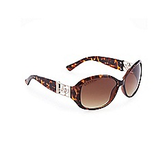 Lipsy - Brown oversized logo cut-out sunglasses