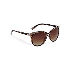 Lipsy - Brown tortoise shell print oversized cat eye sunglasses