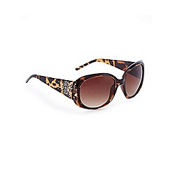 Lipsy - Brown tortoise shell print oversized sunglasses