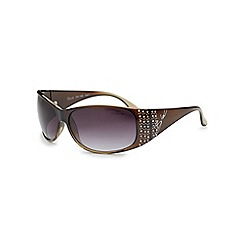 Bloc - Shiny khaki 'Turin' diamante sunglasses