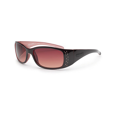 Bloc - Women+s brown tinted diamante stud sunglasses