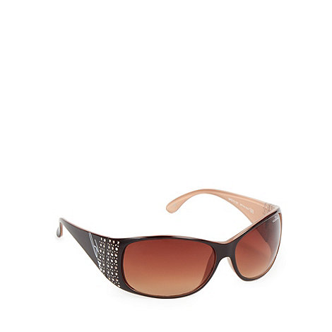 Bloc - Women+s brown branded embellished sunglasses