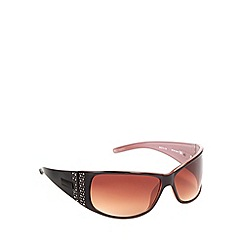 Bloc - Women's brown 'Reims' stone embellished sunglasses