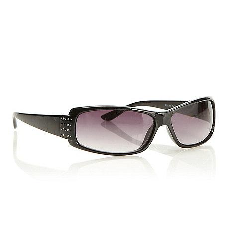 Beach Collection - Black plastic diamante temple sunglasses