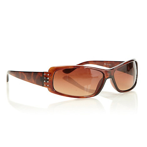Beach Collection - Brown plastic diamante temple sunglasses
