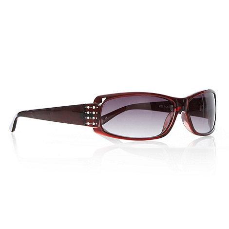Beach Collection - Dark red diamante hinged wrap sunglasses