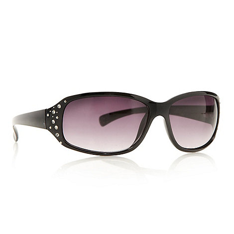 Beach Collection - Black diamante hinged wrap sunglasses