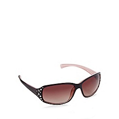 Beach Collection - Brown diamante hinged wrap sunglasses