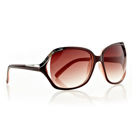 Red Herring - Brown metallic cornered oversized sunglasses