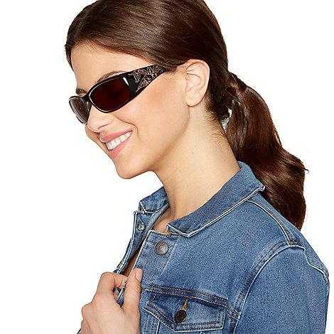 Mantaray - Brown hibiscus armed visor sunglasses