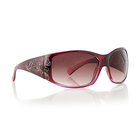 Mantaray - Dark pink etched armed wrap sunglasses