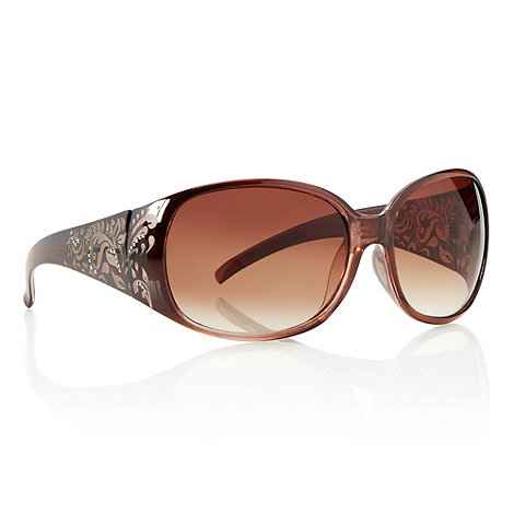 Mantaray - Brown studded matte patterned oversized sunglasses