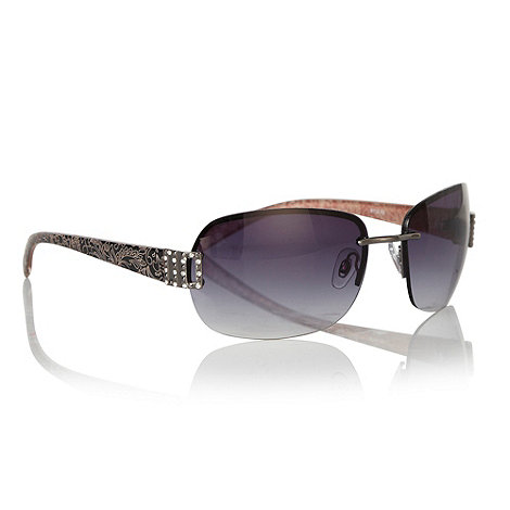 Mantaray - Brown etched floral armed sunglasses