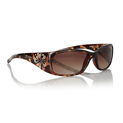 Mantaray - Brown tortoiseshell hibiscus etched visor sunglasses