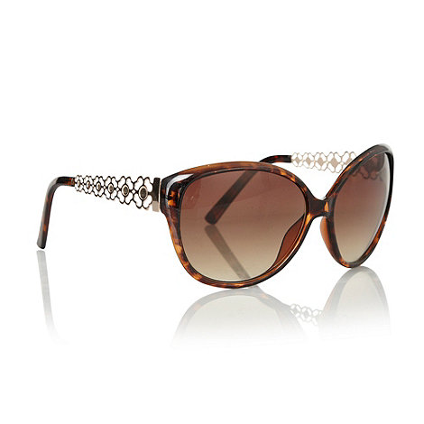 Butterfly by Matthew Williamson - Brown floral armed oversized sunglasses