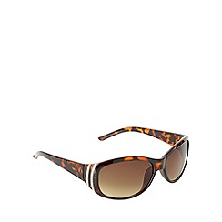 Beach Collection - Brown tortoiseshell diamante curved sunglasses