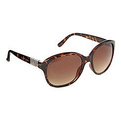 Lipsy - Brown tortoiseshell wavy hinged sunglasses