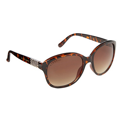Lipsy - Brown tortoiseshell wavy hinged sunglasses