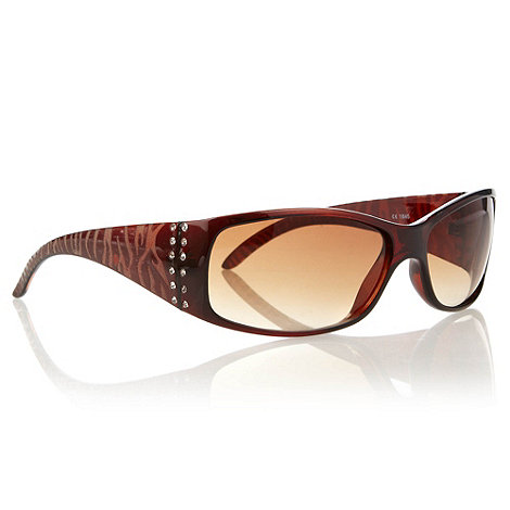 Beach Collection - Brown diamante sided graduating wrap sunglasses