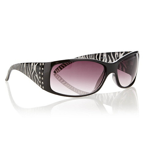 Beach Collection - Black diamante sided graduating wrap sunglasses