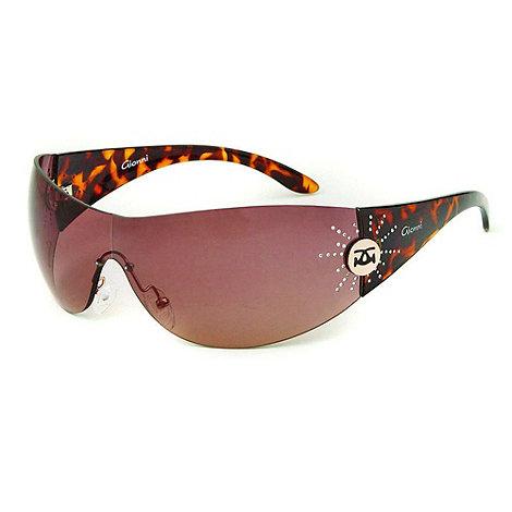 Gionni - Brown tortoise shell star hinge visor sunglasses