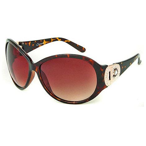 Gionni - Brown tortoise shell diamante g hinge sunglasses