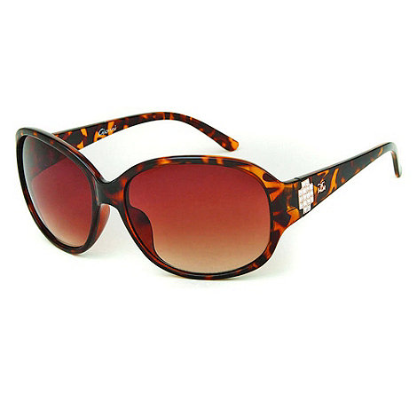 Gionni - Brown geometric charm rounded sunglasses