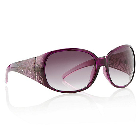 Mantaray - Purple studded matte patterned oversized sunglasses