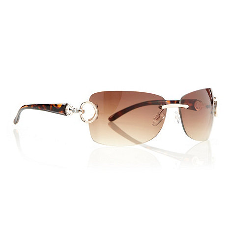 Beach Collection - Brown diamante hinged rectangular sunglasses