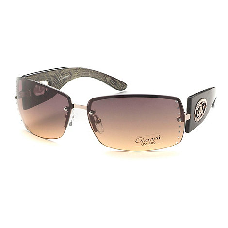 Gionni - Brown rimless diamante lens sunglasses