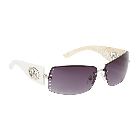 Gionni - White rimless diamante lens sunglasses