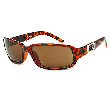 Gionni - Brown tortoise shell logo plaque sunglasses