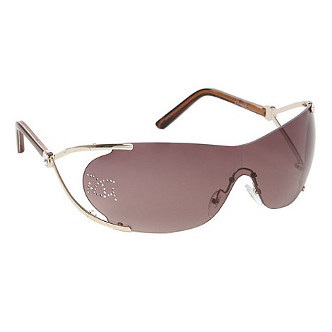 Gionni - Brown diamante logo visor sunglasses