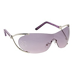 Gionni - Purple diamante logo visor sunglasses