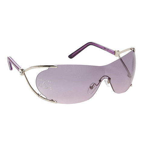 Gionni - Purple diamante logo visor sunglasses