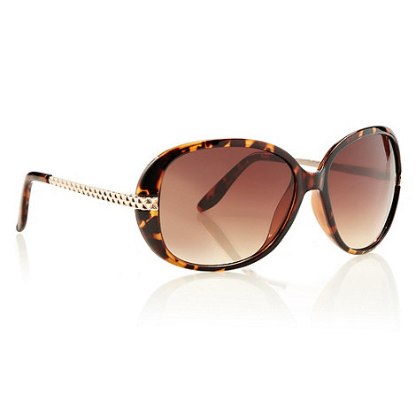Red Herring - Light brown tortoiseshell oversized square sunglasses