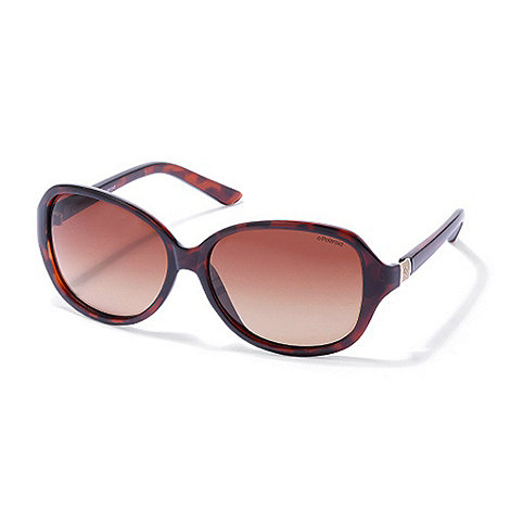 Polaroid - Light brown tortoishell square plastic sunglasses