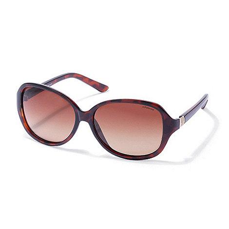 Polaroid - Light brown tortoishell square plastic sunglasses